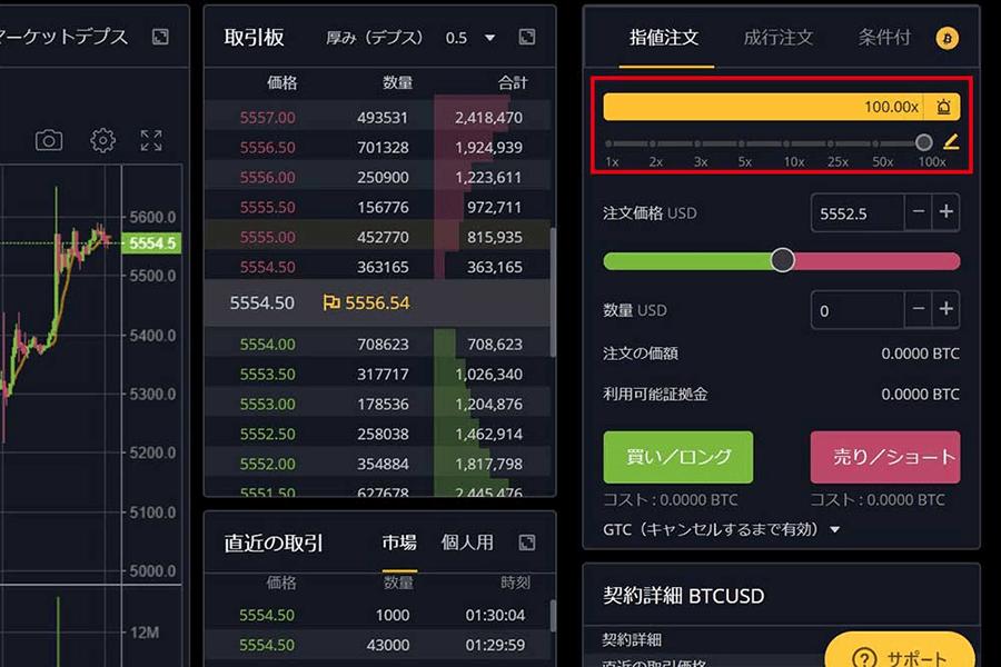 Bybit取引画面レバレッジ設定