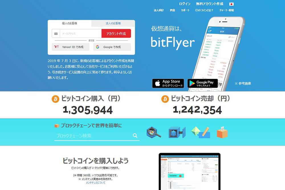 ビットフライヤーwebsite