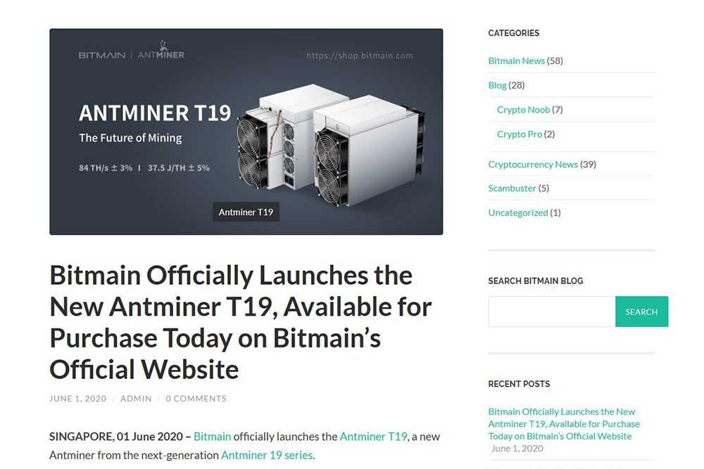 Bitmain blog Antminer T19