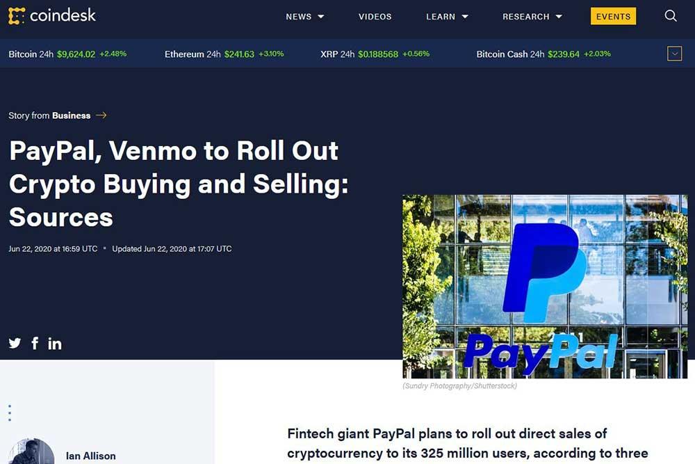 CoinDesk PayPalと傘下企業Venmoが仮想通貨売買サービス導入