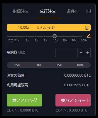 Bybit成り行き注文タブ