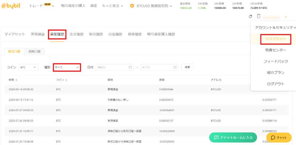 Bybit資産履歴表示画面