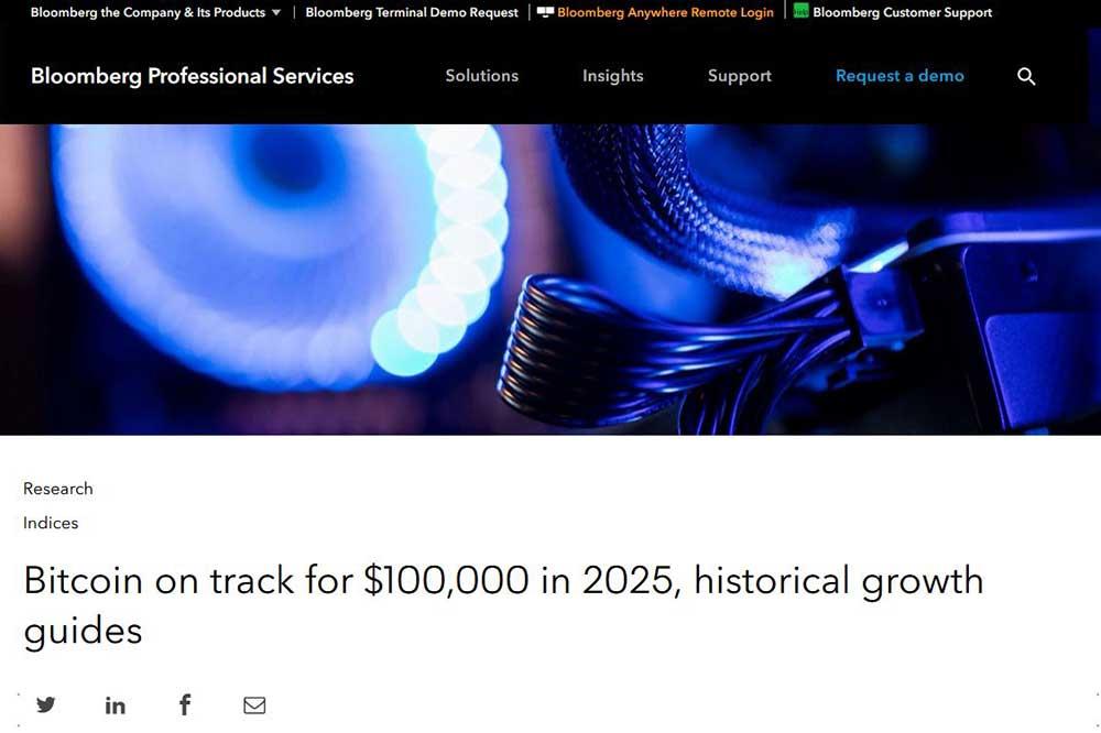 Bloomberg2025年に10万ドルのビットコイン、歴史的な成長ガイド
