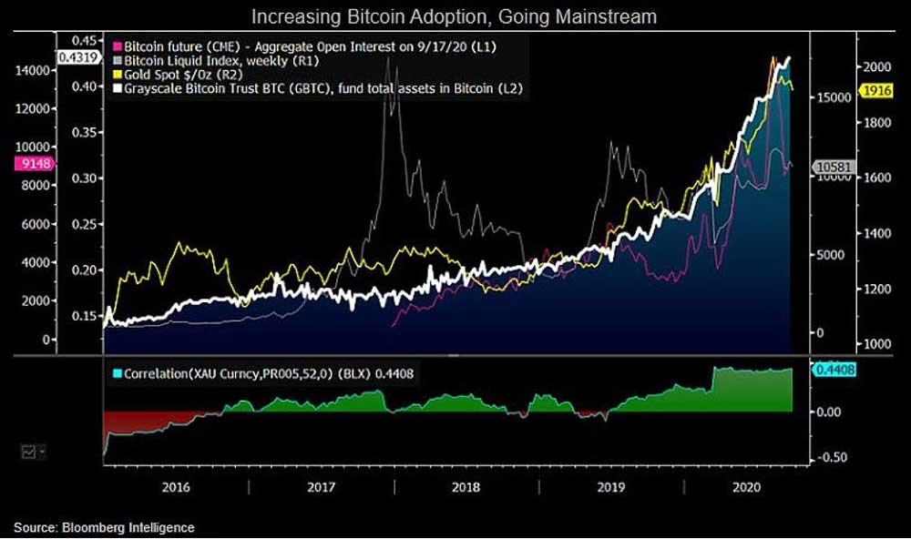 Bloomberg GOLDとの相関関係グラフ