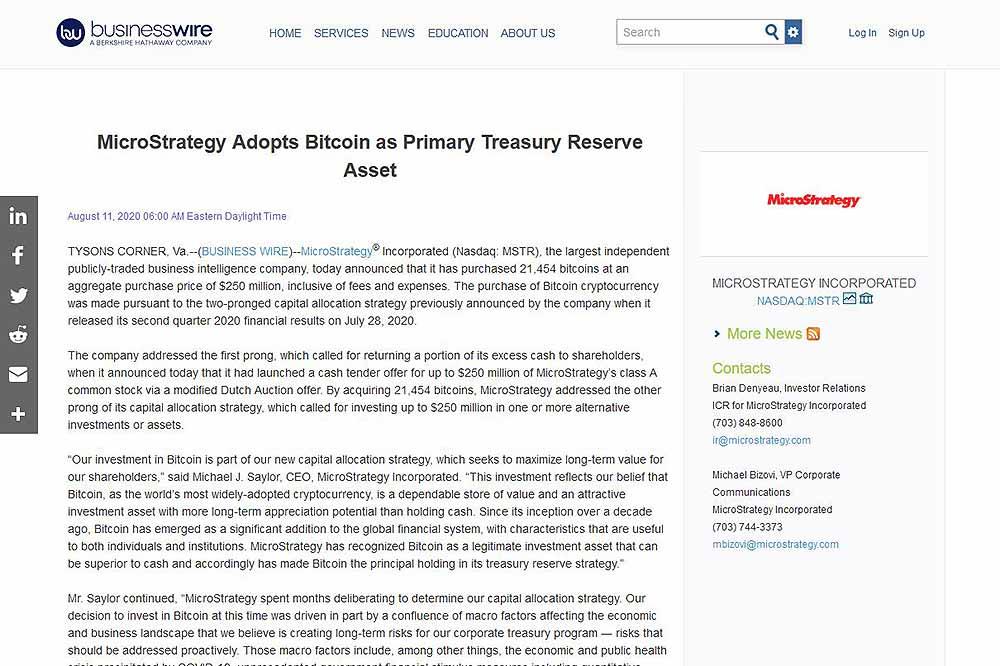 businesswire MicroStrategy社の260憶ビットコイン購入