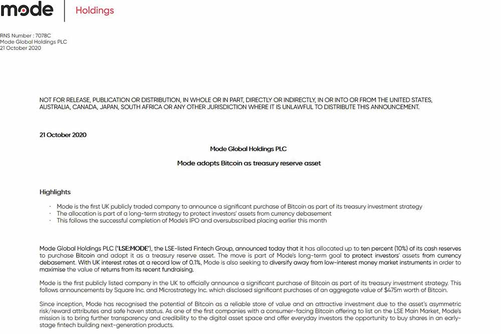 Mode Global Holdings PLC news ビットコイン購入計画