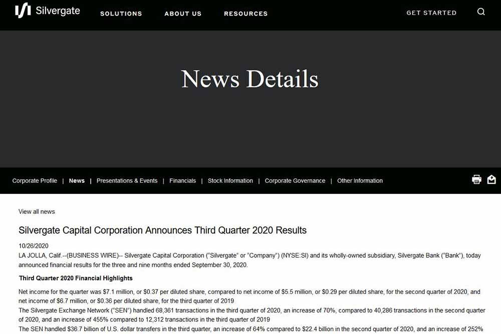 Silvergatebank 2020年第3四半期決算報告