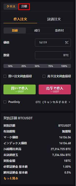 Bybit BTCUSDT無期限契約 分離マージン
