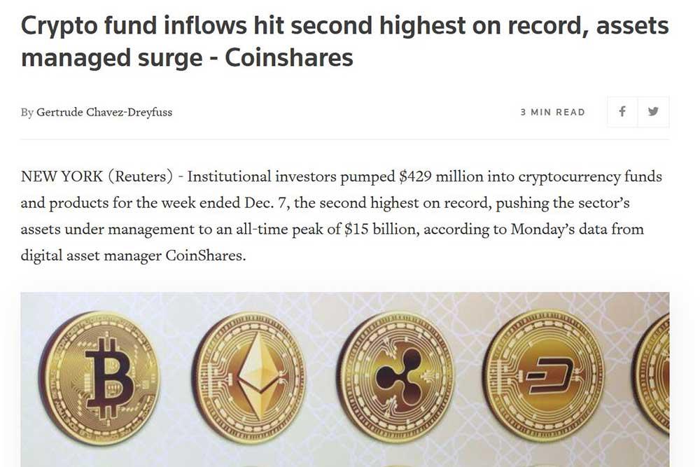 REUTERS 仮想通貨ファンドに大量の資金流入