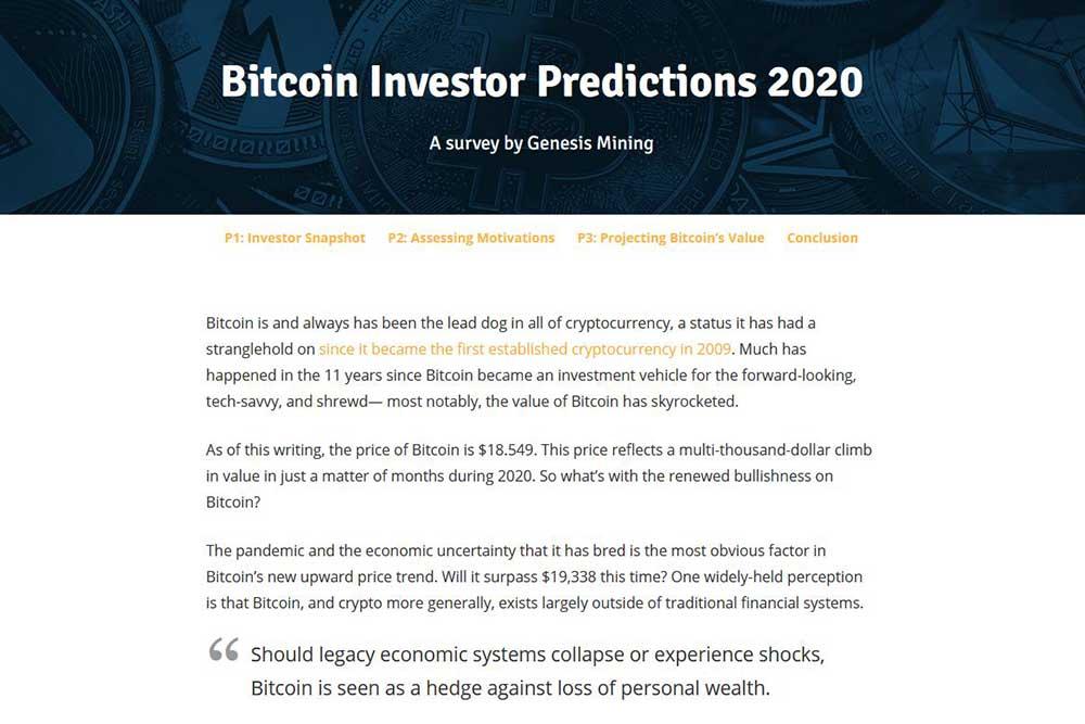 Genesis Mining Bitcoin Investor Predictions 2020