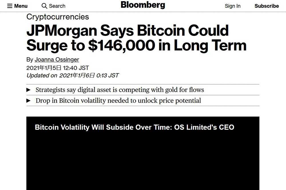 Bloomberg JPMorgan Chase のビットコイン146,000ドル説
