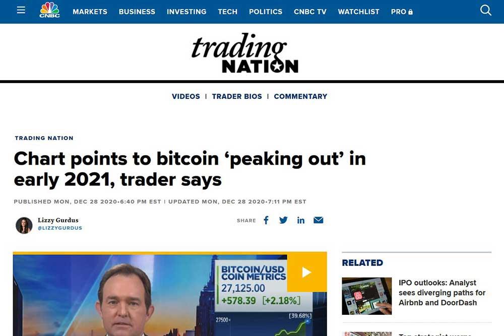CNBC Trading Nation 1月上旬にBTC天井説報道