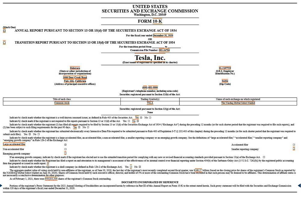 SEC テスラ社の報告書