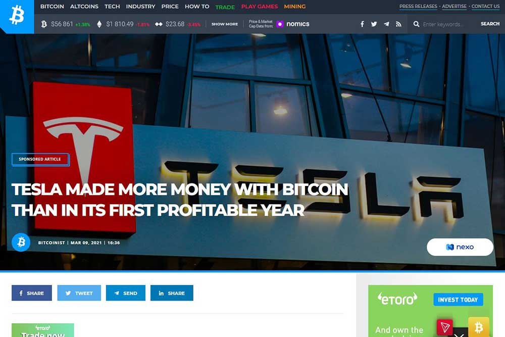 bitcoinist テスラのビットコイン利益について