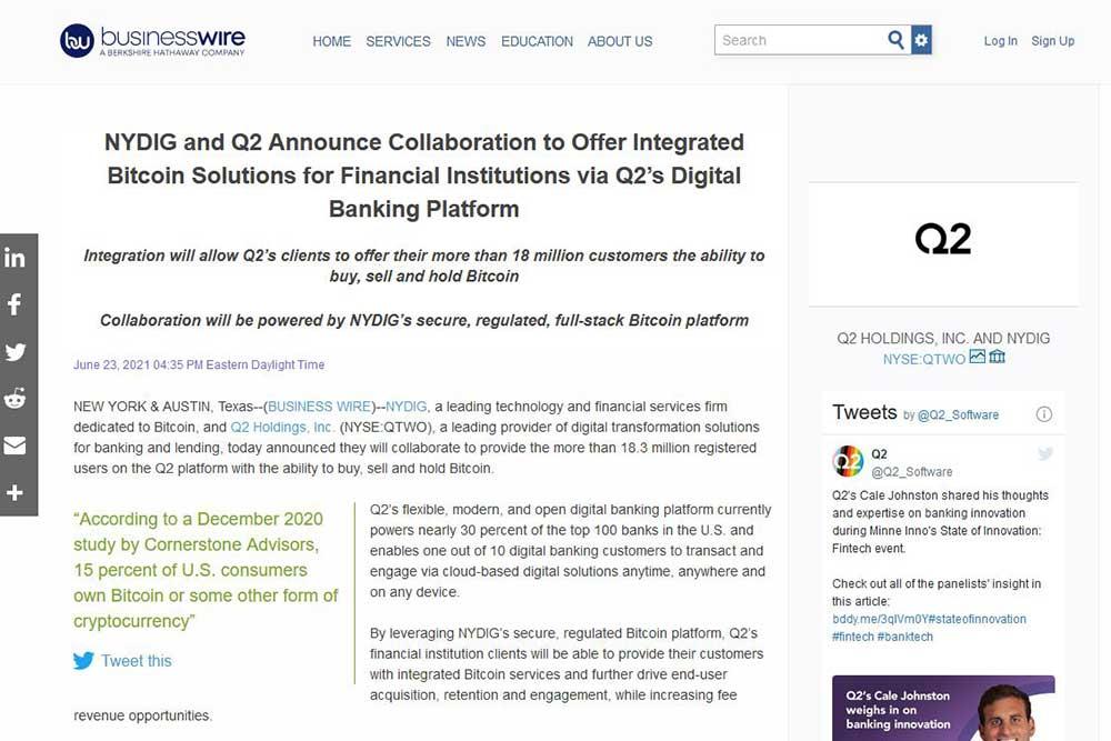 NYDIGとQ2社との提携