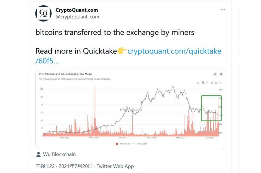 CryptoQuant Twitter 2021.7.20.ツイート