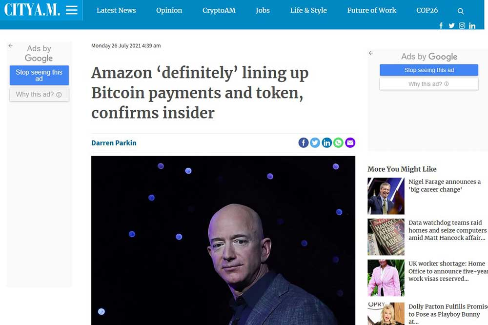 cityam.com Amazonビットコイン決済導入報道