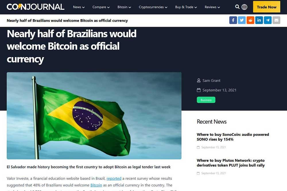 coinjournal ブラジルでの仮想通貨世論調査